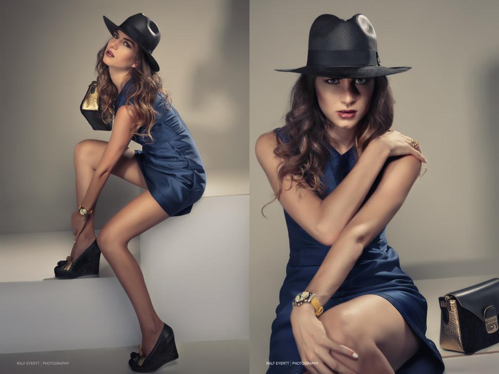 Longchamp FW 2015 Nachtblau mit schwarz/goldenen Details, die perfekte Kombination für ein Abendoutfit. Uhr und Ring Casual Luxury Landolf & Huber Hut Ecadorian Hat Model Linda Solanki