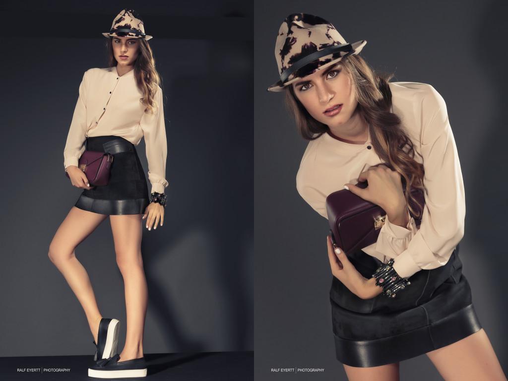 Longchamp FW 2015 Mix von Leder und Seide, ein Klassiker der immer funktioniert. Hier downgraded mit flachen, sportlichen Schuhen. Armband und Ohrringe Casual Luxury Landolf & Huber Hut Ecuadorian Hat Model Linda Solanki