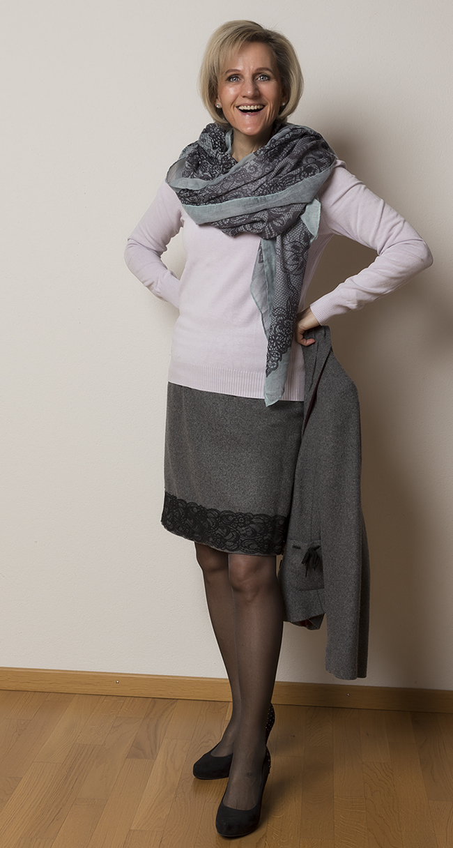 Kostüm/Anzug More&More, Pullover s.Oliver, Schuhe Limelight